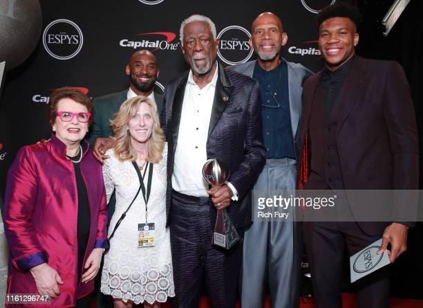 Billie Jean King Maura Mandt Kobe Bryant Bill Russell Kareem AbdulJabbar and Giannis Antetokounmpo attend The 2019 ESPYs at Microsoft Theater on July...