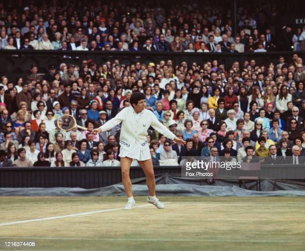 Billie Jean King of the United States during her Women's Singles Final match against Margaret Court of Australia at the Wimbledon Lawn Tennis...