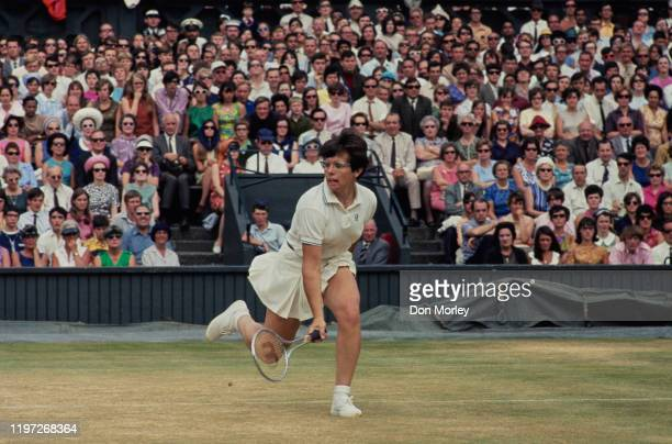 Billie Jean King of the United States during the Women's Singles Final match against Judy Tegart Dalton of Australia at the Wimbledon Lawn Tennis...