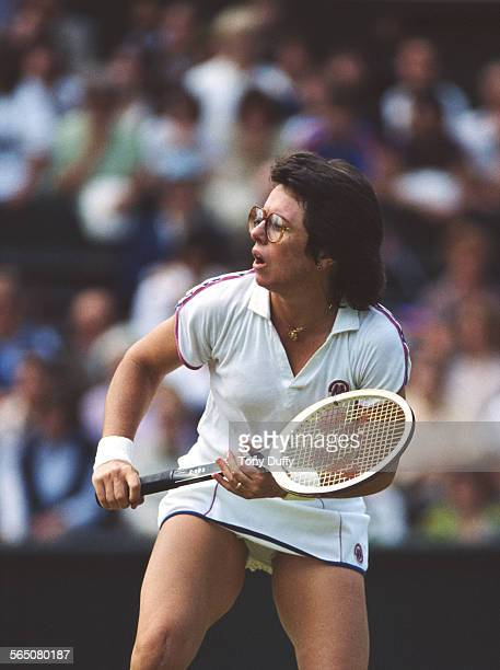 Billie Jean King of the United States during the Women's Singles Quarterfinall match against Martina Navratilova at the Wimbledon Lawn Tennis...