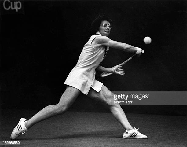 Billie Jean King of the United States hits the ball during a match in the 1970's