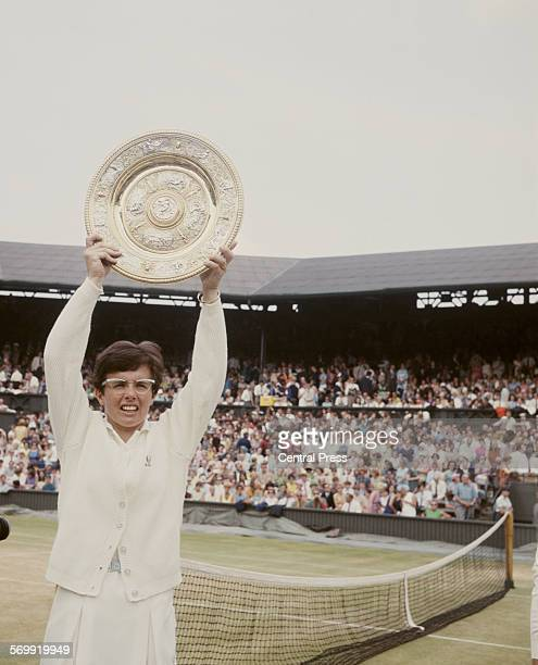 Billie Jean King of the United States holds aloft the Venus Rosewater Dish after defeating Judy Tegart Dalton of Australia in the Women's Singles...