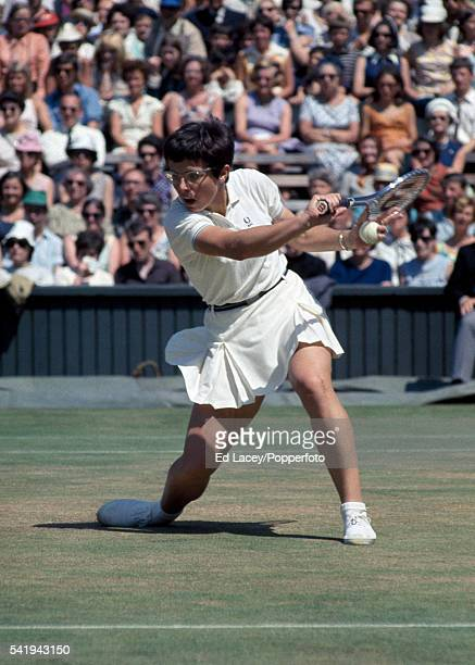 Billie Jean King of the United States in action at Wimbledon circa July 1970 King lost the Women's Singles Final to Margaret Court of Australia 1412...