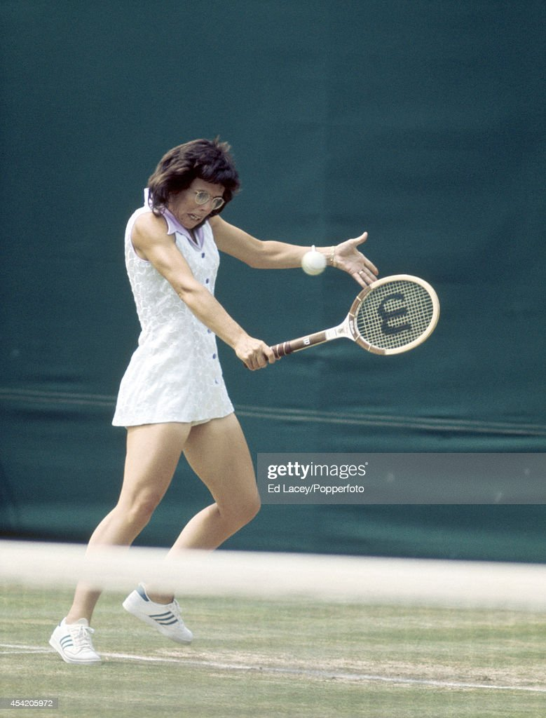 Billie Jean King of the United States in action at Wimbledon on 29th June 1973. King, seeded second, won the Ladies' Singles Final, defeating Chris Evert in straight sets.