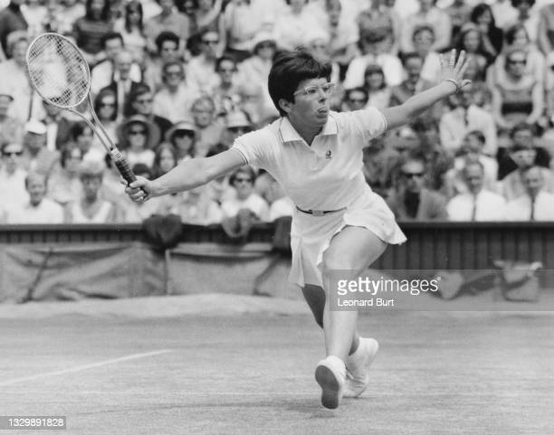 Billie Jean King of the United States plays a forehand return to compatriot Judy Tegart during their Women's Singles Final match at the Wimbledon...