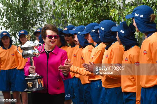 Billie Jean King of the USA arrives with the Daphne Akhurst Memorial Cup on day one of the 2018 Australian Open at Melbourne Park on January 15 2018...