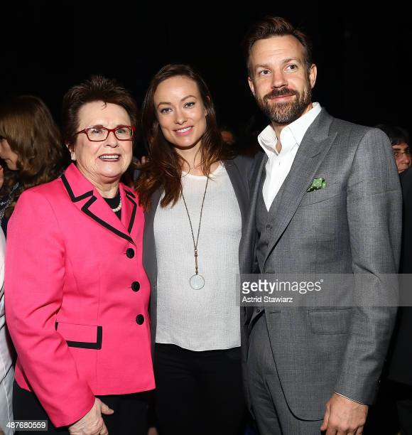 Billie Jean King Olivia Wilde and Jason Sudeikis attend the Ms Foundation Women Of Vision Gala 2014 on May 1 2014 in New York City