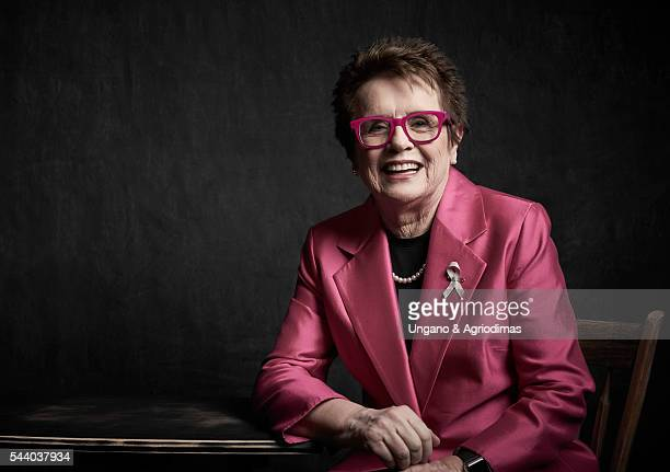 Billie Jean King poses for a portrait at Logo's 'Trailblazer Honors' on June 23 in the Cathedral of St John the Divine in New York City