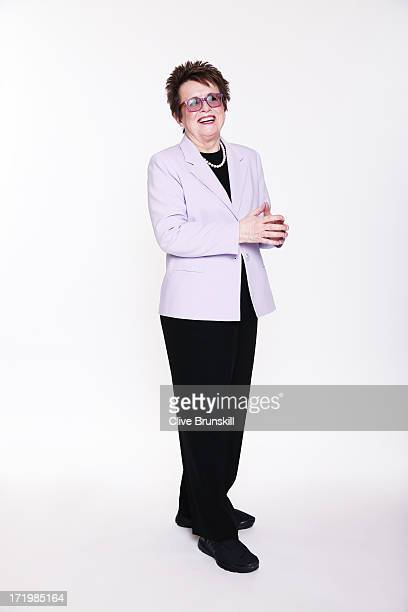 Billie Jean King poses for an exclusive photoshoot during the WTA 40 Love Celebration on Middle Sunday of the Wimbledon Lawn Tennis Championships at...