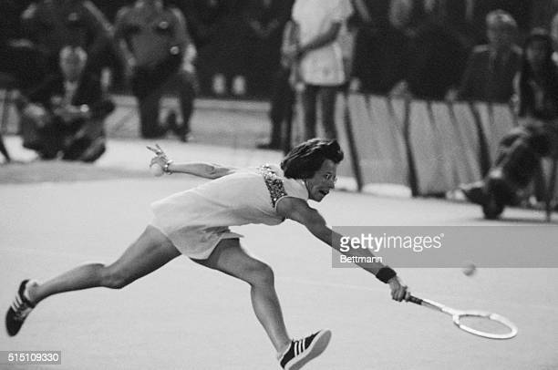 Billie Jean King reaches for the ball in the first set of her match with aging Bobby Riggs for $100000 winnertakeall match in the Astrodome