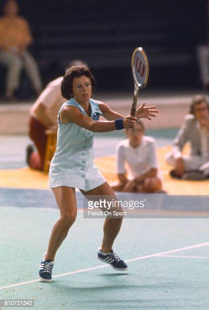 Billie Jean King returns a shot against Bobby Riggs during a tennis match called Battle of the Sexes II at the Astrodome in Houston Texas September...