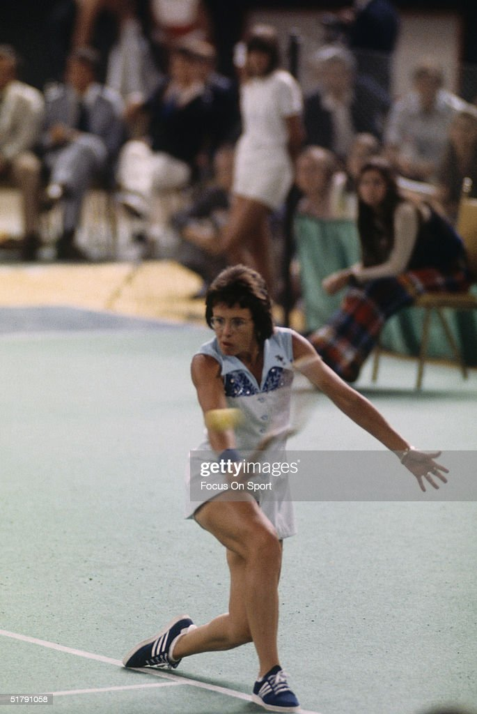 Billie Jean King returns a shot against Bobby Riggs during the Battle of the Sexes Challenge Match at the Astrodome on September 20, 1973 in Houston, Texas. Billie Jean King defeated Bobby Riggs.