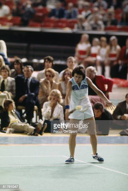 Billie Jean King returns a shot during a match with Bobby Riggs during the Battle of the Sexes Challenge Match at the Astrodome on September 20 1973...