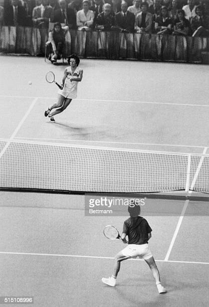 Billie Jean King returns the ball to Bobby Riggs during the first set of their $100000 battle of the sexes at the Astrodome 9/20