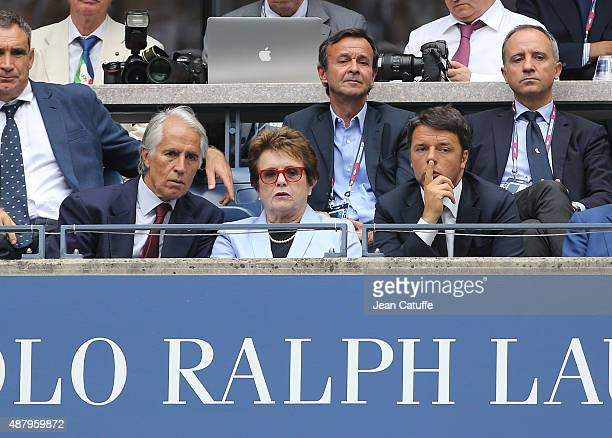 Billie Jean King seats between the President of the Italian Olympic Committee Giovanni Malago and the Prime Minister of Italy Matteo Renzi during the...