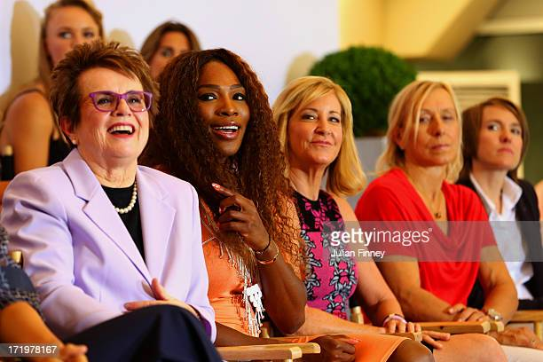 Billie Jean King, Serena Williams, Chris Evert, Martina Navratilova and and Justine Henin sit on stage at the WTA 40 Love Celebration during Middle...