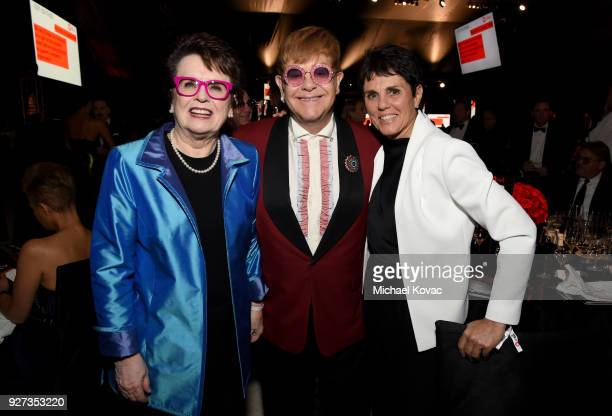 Billie Jean King Sir Elton John and Ilana Kloss attend the 26th annual Elton John AIDS Foundation Academy Awards Viewing Party sponsored by Bulgari...