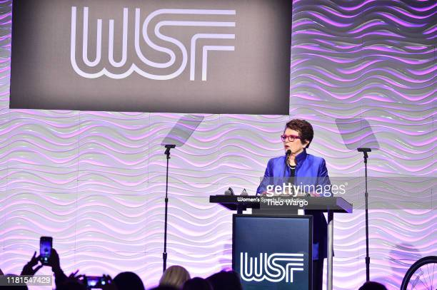 Billie Jean King speaks at The Women in Sports Foundation 40th Annual Salute to Women in Sports Awards Gala, celebrating the most accomplished women...