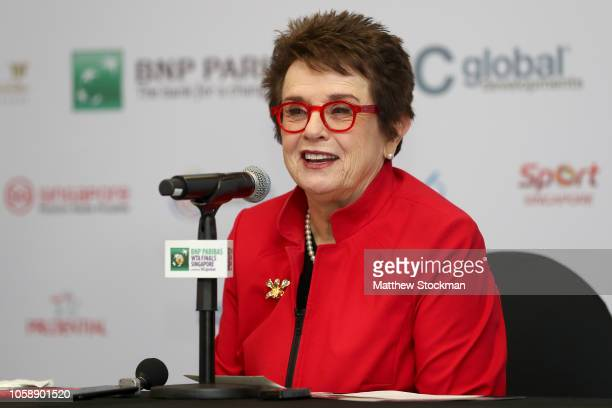 Billie Jean King speaks to the media during a press conference during day 4 of the BNP Paribas WTA Finals Singapore presented by SC Global at...