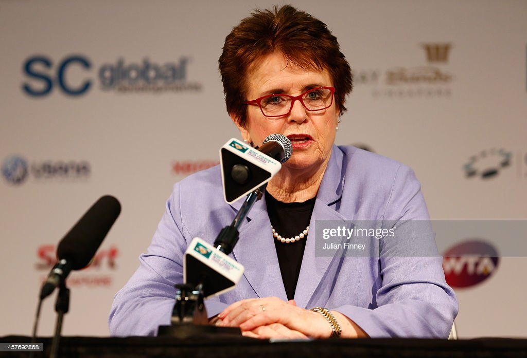 Billie Jean King talks to the media during day four of the BNP Paribas WTA Finals tennis at the Singapore Sports Hub on October 23, 2014 in Singapore.