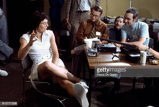 Billie Jean King talks with the media prior to playing a tennis match called Battle of the Sexes II against men's player Bobby Riggs circa 1973 King...