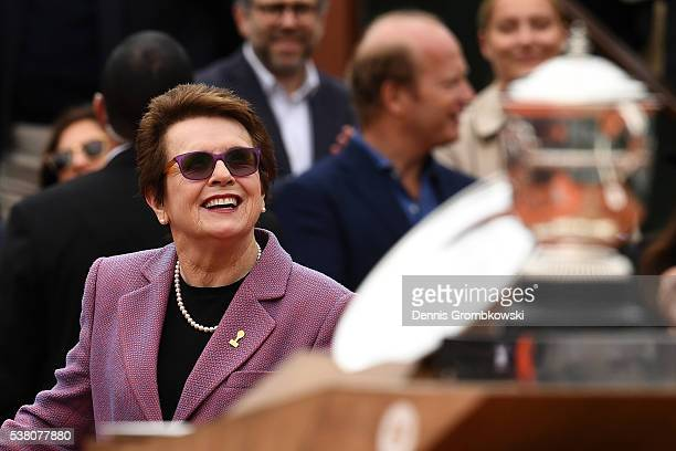 Billie Jean King walks out onto court to present the trophies following the Ladies Singles final match between Serena Williams of the United States...