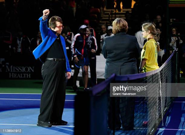 Billie Jean King waves to the crowd before a first round 2019 Fed Cup match between the USA and Australia at US Cellular Center on February 09 2019...