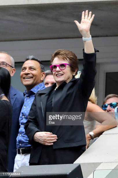 Billie Jean King waves while in attendance during the Women's Singles final match between Serena Williams of the United States and Bianca Andreescu...