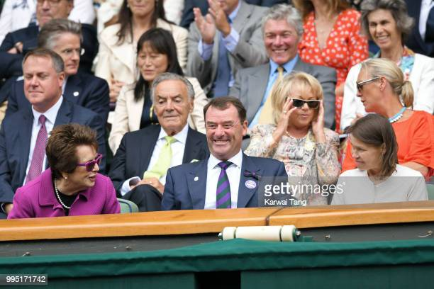 Billie Jean King Wimbledon Chairman Philip Brook and Lady Sarah Chatto attend day eight of the Wimbledon Tennis Championships at the All England Lawn...