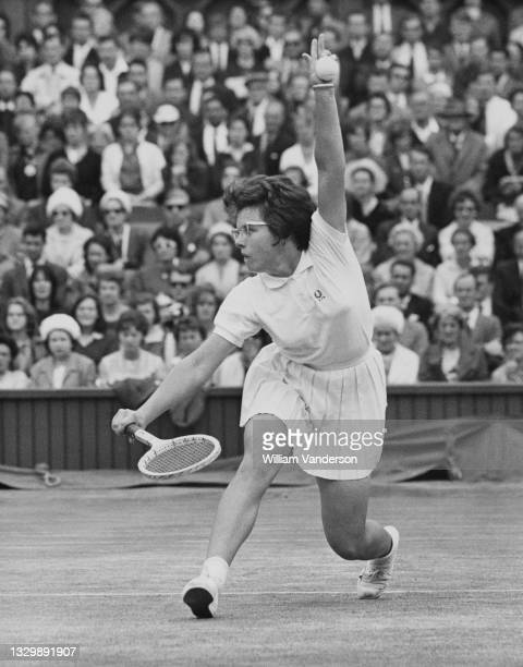 Billie Jean Moffitt of the United States plays a back hand return to Margaret Court of Australia during their Women's Singles Final match at the...