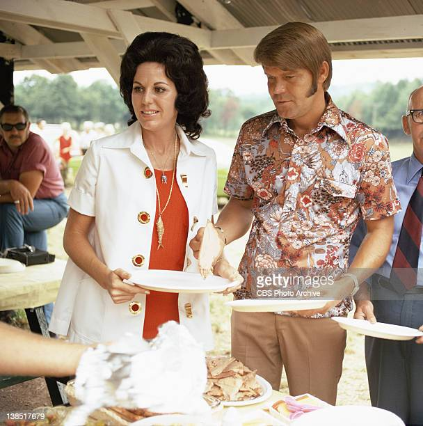 Billie Jean Nunley and Glen Campbell at a community picnic in borough of Glen Campbell PA on July 30 1971