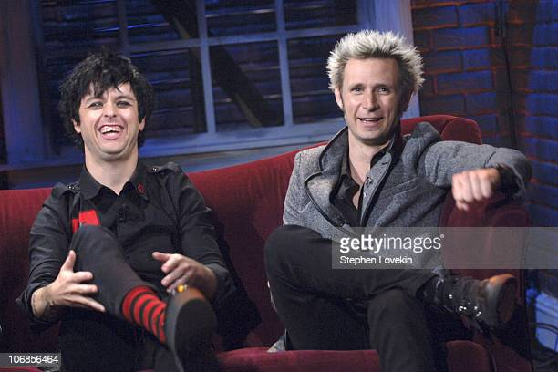 Billie Joe Armstrong and Mike Dirnt of Green Day during Billie Joe Armstrong and Mike Dirnt of Green Day Visit Steven's Untitled Rock Show April 8...