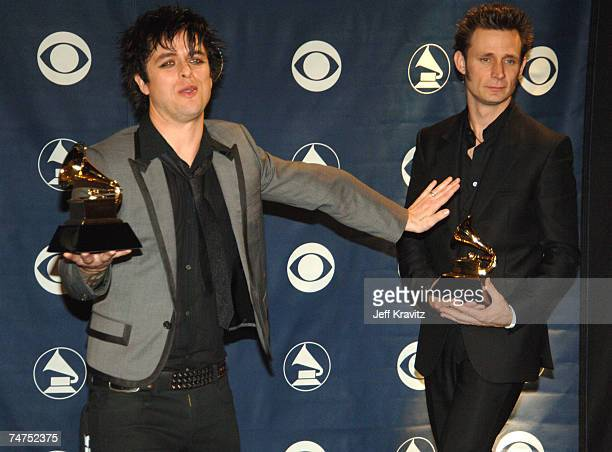 Billie Joe Armstrong and Mike Dirnt of Green Day winner Record Of The Year for Boulevard Of Broken Dreams at the The 48th Annual GRAMMY Awards Press...