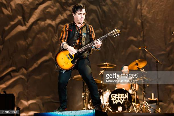 Billie Joe Armstrong and Tre Cool members of the band Green Day performs live on stage at Arena Anhembi on November 3 2017 in Sao Paulo Brazil