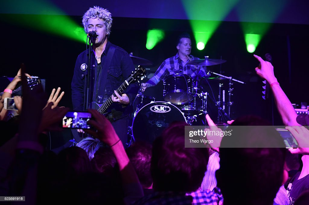 Billie Joe Armstrong and Tre Cool perform at 'Geezer' Premiere - 2016 Tribeca Film Festival at Spring Studios on April 23, 2016 in New York City.