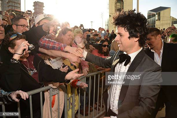 Billie Joe Armstrong attends the 30th Annual Rock And Roll Hall Of Fame Induction Ceremony at Public Hall on April 18 2015 in Cleveland Ohio