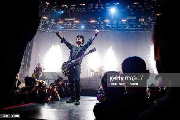 Billie Joe Armstrong from Green Day performs at AccorHotels Arena on February 3, 2017 in Paris, France.