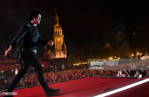 Billie Joe Armstrong from Green Day performs during the World Stage held at the Plaza de Espana ahead of the MTV EMAs 2019 on November 02 2019 in...