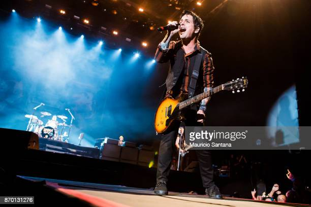 Billie Joe Armstrong member of the band Green Day performs live on stage at Arena Anhembi on November 3 2017 in Sao Paulo Brazil