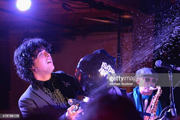 Billie Joe Armstrong of Foxboro Hot Tubs performs at Yahoo's Brazos Hall during 2014 SXSW Music Film Interactive Festival on March 14 2014 in Austin...