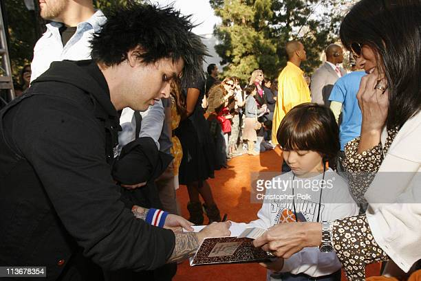 Billie Joe Armstrong of Green Day and fans during Nickelodeon's 19th Annual Kids' Choice Awards Orange Carpet at Pauley Pavillion in Westwood...