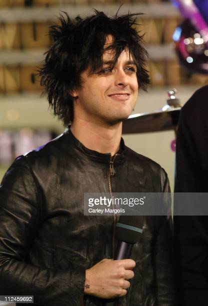 Billie Joe Armstrong of Green Day during Green Day Nicole Richie Yellowcard and Thrice Visit MTV's 'TRL' November 10 2005 at MTV Studios in New York...