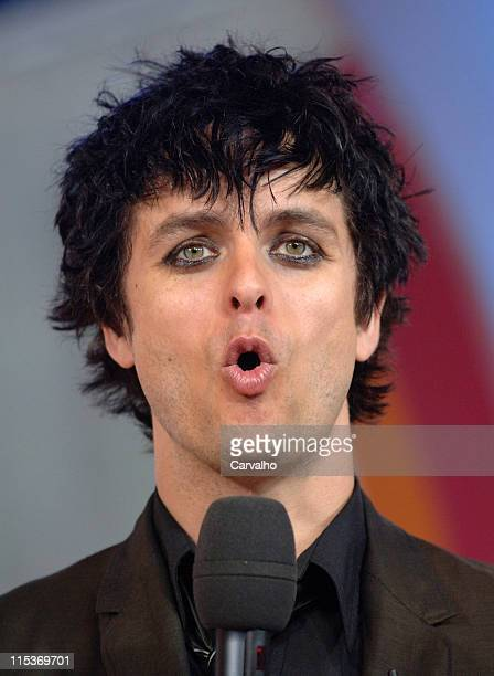 Billie Joe Armstrong of Green Day during Green Day Visits MTV's 'TRL' April 7 2005 at MTV Studios in New York City New York United States