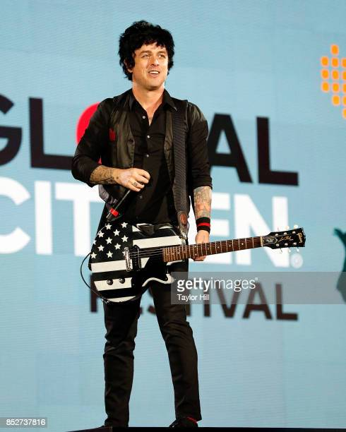 Billie Joe Armstrong of Green Day performs during the 2017 Global Citizen Festival at The Great Lawn of Central Park on September 23 2017 in New York...