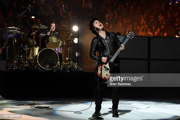 Billie Joe Armstrong of Green Day performs during the 2020 NHL AllStar Game at the Enterprise Center on January 25 2020 in St Louis Missouri