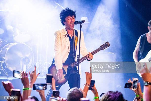 "Billie Joe Armstrong of Green Day performs during the ""Hella Mega Tour"" announcement show at Whisky a Go Go on September 10 2019 in West Hollywood..."