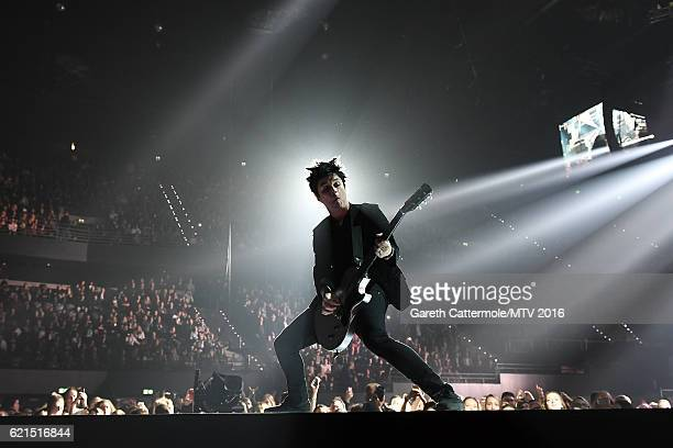 Billie Joe Armstrong of Green Day performs on stage at the MTV Europe Music Awards 2016 on November 6 2016 in Rotterdam Netherlands