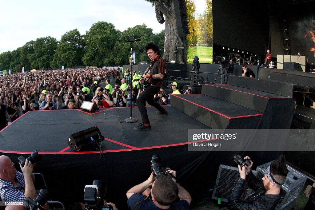 Billie Joe Armstrong of Green Day performs on stage at the Barclaycard Presents British Summer Time Festival in Hyde Park on July 1, 2017 in London, England.