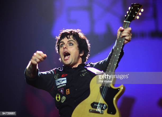 Billie Joe Armstrong of Green Day performs on stage at the Vector Arena December 18 2009 in Auckland New Zealand