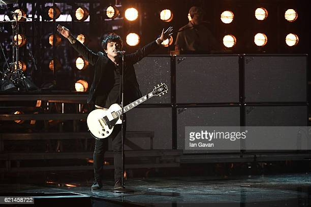 Billie Joe Armstrong of Green Day performs on stage during the MTV Europe Music Awards 2016 on November 6 2016 in Rotterdam Netherlands